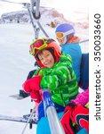 ski  skiing   little skier boy... | Shutterstock . vector #350033660