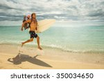 young tanned surfer dad runs...   Shutterstock . vector #350034650