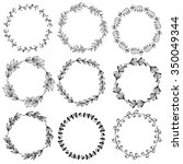 collection of nine wreaths.... | Shutterstock .eps vector #350049344