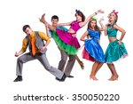 cabaret dancer team dancing.... | Shutterstock . vector #350050220