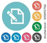 flat edit icon set on round... | Shutterstock .eps vector #350092706