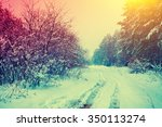 rural snowy landscape  | Shutterstock . vector #350113274