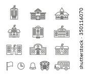 school building. line style... | Shutterstock .eps vector #350116070