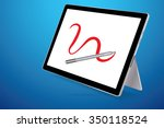 a stylus drawing red line on... | Shutterstock .eps vector #350118524