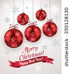 christmas decoration with red...   Shutterstock .eps vector #350128130