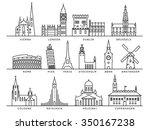 14 european cities landmarks ... | Shutterstock .eps vector #350167238