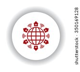 wifi  icon  red isolated white...