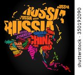 asia map in typography word... | Shutterstock .eps vector #350192090
