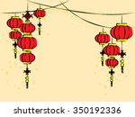 hanging chinese lanterns ... | Shutterstock .eps vector #350192336