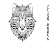patterned head of the fox ... | Shutterstock .eps vector #350197448