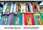 colorful facade of building in... | Shutterstock . vector #350204480