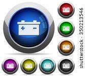 set of round glossy battery...