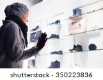 casualy winter dressed lady... | Shutterstock . vector #350223836