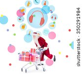 Santa Pushing A Shopping Cart...