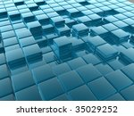 3d shiny tiles illustration... | Shutterstock . vector #35029252