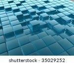 3d shiny tiles illustration... | Shutterstock . vector #35029252