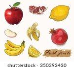 fresh fruit set | Shutterstock .eps vector #350293430