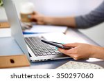 young businesswoman working on... | Shutterstock . vector #350297060