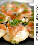 smoked salmon and cracker... | Shutterstock . vector #350299724