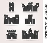 medieval castle icon vector set.... | Shutterstock .eps vector #350300030