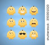 emojis  first set of cute... | Shutterstock .eps vector #350301020
