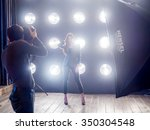 backstage during shooting in...   Shutterstock . vector #350304548