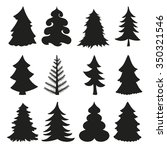 christmas tree set.black...   Shutterstock . vector #350321546