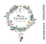 watercolor christmas wreath card | Shutterstock . vector #350323904