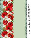 vertical floral border  pattern ... | Shutterstock . vector #350328698