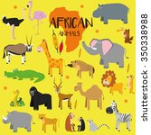 vector set african animals.... | Shutterstock .eps vector #350338988