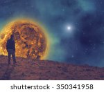 man watching the stars and moon ... | Shutterstock . vector #350341958