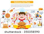 delicious hot pizza ... | Shutterstock .eps vector #350358590