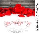 hearts on wooden background...   Shutterstock . vector #350364704