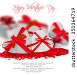heart shaped gifts on white... | Shutterstock . vector #350364719