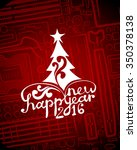hi tech greeting new year card | Shutterstock .eps vector #350378138