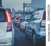 traffic jam with row of car on... | Shutterstock . vector #350400224