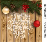 christmas wreath with... | Shutterstock .eps vector #350408228