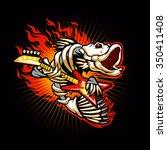 fish skeleton flame | Shutterstock .eps vector #350411408