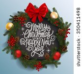 christmas wreath with... | Shutterstock .eps vector #350411498