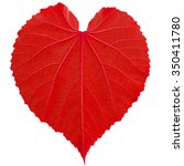 Red Heart Leaf Shaped On White...