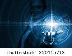businesswoman hand presenting... | Shutterstock . vector #350415713
