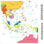 southeast asia political map... | Shutterstock .eps vector #350418428