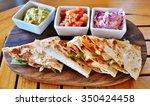 shrimp quesadillas with... | Shutterstock . vector #350424458