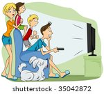 family watching tv   vector | Shutterstock .eps vector #35042872