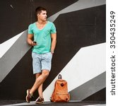 slylish fashion man traveling... | Shutterstock . vector #350435249