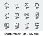 insurance related icon set in... | Shutterstock .eps vector #350437508