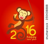 happy new year 2016 with monkey ... | Shutterstock .eps vector #350438888