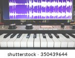 synthesizer keyboard   waveform ... | Shutterstock . vector #350439644