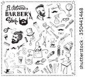 vintage set barbershop tool... | Shutterstock .eps vector #350441468