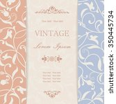 vintage invitation card with... | Shutterstock .eps vector #350445734